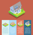 cottage construction flat isometric poster vector image