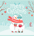 cute snowmen couple hugging merry christmas card vector image