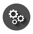 gear icon in flat style cog wheel with long vector image vector image
