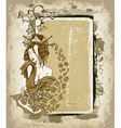 geisha with floral grunge frame vector image vector image