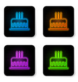 glowing neon cake with burning candles icon vector image