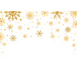 gold snowflakes falling on white background vector image vector image