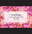 greeting card with watercolor peony flowers vector image vector image