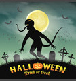 halloween silhouette monster in a night graveyard vector image vector image