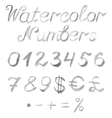 Hand drawn watercolor numbers vector image