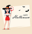 happy halloween greeting card with sexy witch vector image vector image