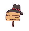 happy thanksgiving day wooden sign pilgrim hat vector image vector image