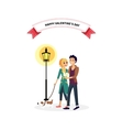 Happy Valentine Day Couple Walk with Dog vector image