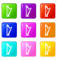 harp icons 9 set vector image vector image