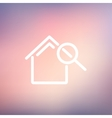 House and magnifying glass thin line icon vector image