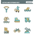 Icons line set premium quality of active and vector image vector image