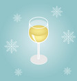 isometric red wine in a glass isolated on winter vector image