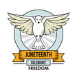 juneteenth day dove fly celebrate freedom label vector image vector image