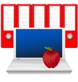 Laptop red apple and binders vector image