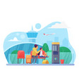 mother and child in airport flat vector image