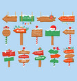 north pole signs christmas wooden street signboad vector image vector image