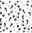 paw seamless pattern animal and human paws vector image