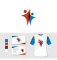 people logo design with business card and t shirt vector image vector image