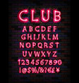 pink neon tube alphabet font vector image vector image