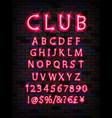 pink neon tube alphabet font vector image