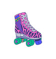 pink roller skate quad shoe with colorful retro vector image vector image