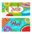 realistic inflatable pool banners vector image
