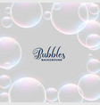 realistic water bubbles background design vector image vector image