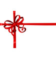 red wrapping silky ribbon bow vector image