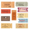 retro tickets or old paper coupons for show vector image vector image