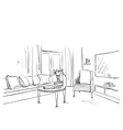 Room interior sketch Hand drawn sofa and vector image vector image