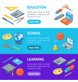 school equipments and tools banner horizontal set vector image