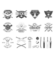 set cricket sports logo designs cricket vector image