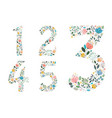 set of floral numerals painting effect vector image vector image