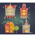 set of of night city buildings on dark blue vector image vector image