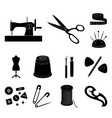 sewing atelier black icons in set collection for vector image