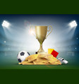 soccer ball with cup and golden coins vector image