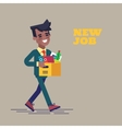 Successful black man going to the new job with box vector image
