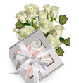 sweet meringues gift box and white roses bouquet vector image vector image