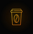 takeaway coffee cup yellow icon in outline vector image vector image