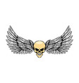 tattoo glossy dead skull with wings vector image
