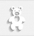 teddy bear sign white icon vector image vector image