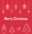 the inscription of merry christmas on a red vector image vector image