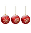 three red christmas ball vector image vector image