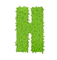Uppecase letter H consisting of green leaves vector image vector image
