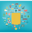 vacation icons set summer holidays travel and vector image