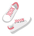 white leather sneakers with laces modern shoes vector image vector image