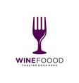 wine glass fork logo design vector image