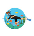 young man diving wearing black suit vector image