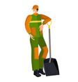 young utility worker janitor builder worker vector image vector image
