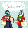 Happy women with shopping bags vector image